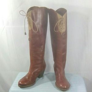 Anthropologie Holding Horses Red Leather High Tied